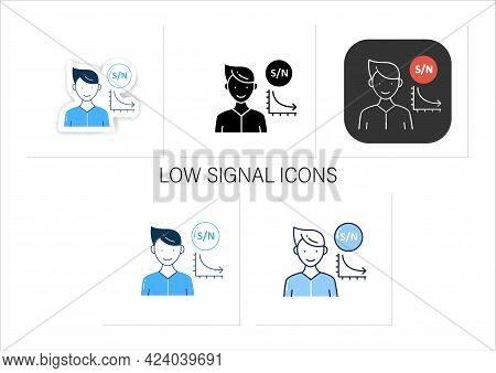 Low Signal Icons Set. Low Signal To Noise Ratio. Minimum Level To Establish Connections.collection O