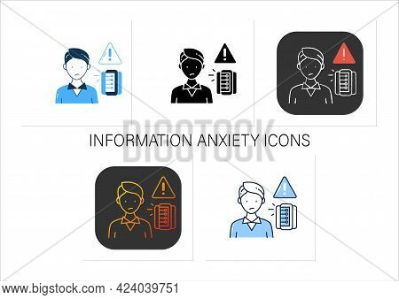 Information Anxiety Icons Set. Overwhelmed With Facts And Data. Unnecessary, Unimportant Info.collec