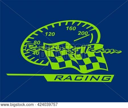 Racing Team Logo Design With Speedometer Icon And Track Flag. Green Color Race Logo Isolated Dark Bl