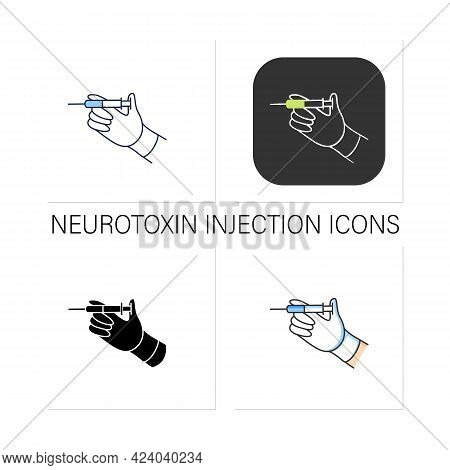 Cosmetic Injection Icons Set. Full Medicine Syringe. Hand Keep Syringe. Ready To Injection. Cosmetic