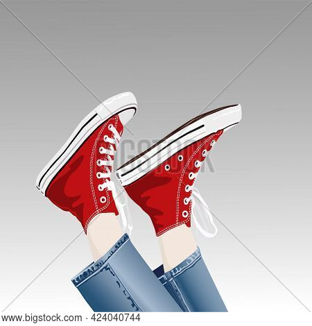 Red Sneakers In Trendy Style. Funny Vector Illustration Of A Leg In Sneakers Upside Down. People\'s