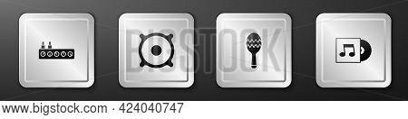 Set Sound Mixer Controller, Stereo Speaker, Maracas And Vinyl Disk Icon. Silver Square Button. Vecto