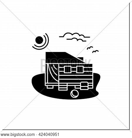 Beach Hut Glyph Icon. Wooden Facade, Comfortable House On Beach. Perfect Relax Place. Seascape. Rest
