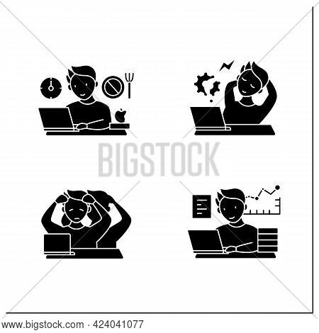 Workaholic Glyph Icons Set. Workaholism Prevention, Consequences. Depersonalization, Counterproducti