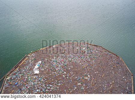 Dirty polluted waste water with garbages. Environment pollution concept. Urban environment issues