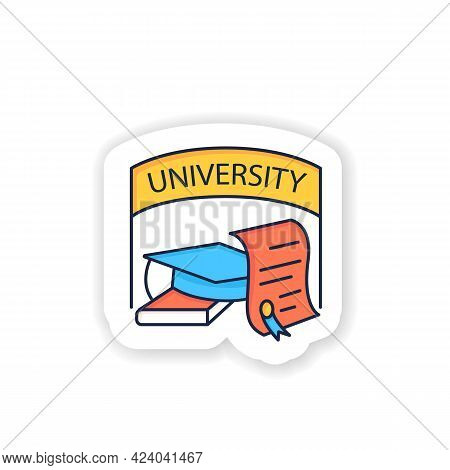 University Graduation Sticker Icon. Successful Training Completion. Books And Graduate Hat Badge For