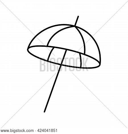 Beach Umbrella For Sun Protection And Shade. Beach Sunshade, Parasol. Vector Line Icon. Editable Str