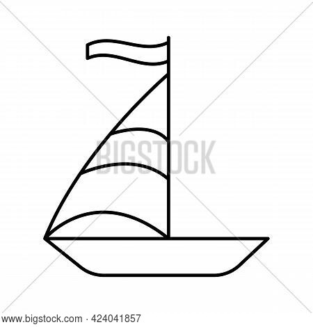 A Boat With A Sail For Sailing In The Sea. A Small Sailboat For Walking On The Water. Vector Line Ic