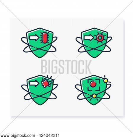 Immune System Color Icons Set. Immunology Concept. Bacteria And Virus Fight, Cancer Calls. Health, I
