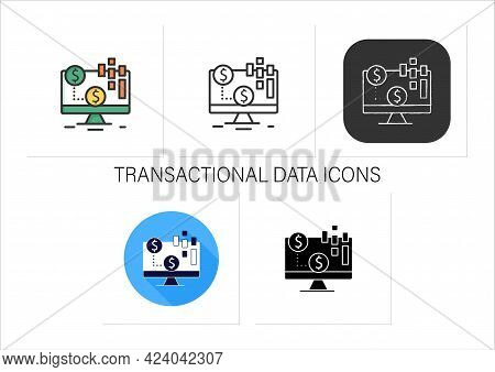 Transactional Data Icons Set. Documents An Exchange, Agreement, Transfer Occurs Between Organization
