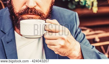 Cup Of Coffee. Cappuccino And Black Espresso Coffee Cup. Coffee Drink. Bearded Man, Hands Holding A