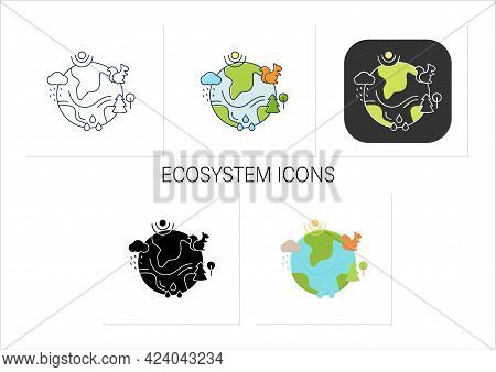 Ecosystem Icons Set. Living Community Of Organisms. Consist Of Different Zones Like Tundra, Grasslan