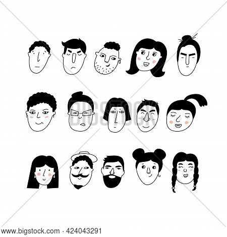 Doodle Portraits Girls And Guys. Trendy Hand Drawn Icon Collection. Black And White Vector Illustrat