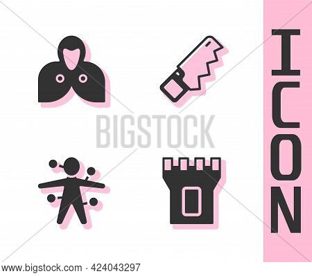 Set Castle Tower, Mantle, Cloak, Cape, Voodoo Doll And Hand Saw Icon. Vector