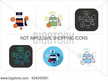 Not Impulsive Shopping Icons Set. Avoiding Impulse Buying.thoughtful Spending Money. Purchase Only N