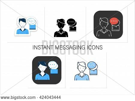 Instant Messaging Icons Set. Momentary Messaging On Social Networks Badge For Designs. Collection Of