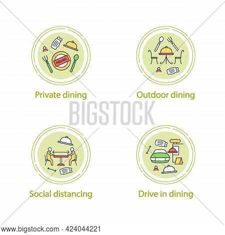 Restaurant New Normal Concept Line Icons..private Dining, Outdoor Dining, Social Distancing, Drive I