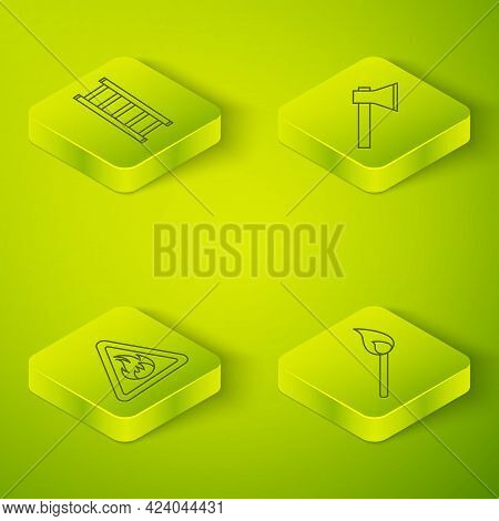 Set Isometric Firefighter Axe, Fire Flame In Triangle, Burning Match With Fire And Fire Escape Icon.