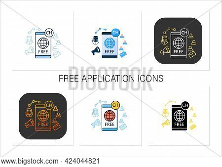 Free Application Icons Set. Chatting For Everyone. Public App. Global Social Media. Communication Co