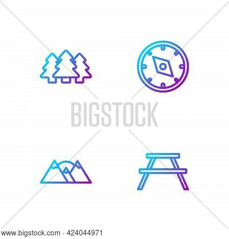 Set Line Picnic Table With Benches, Mountains, Forest And Compass. Gradient Color Icons. Vector
