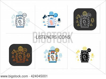 Listeners Icons Set. Listening Lecture. Hearing Voice Messages. Abstract Communication Room With Fri