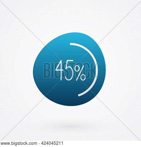 45 Percent Isolated Pie Chart. Vector Infographic Gradient Icon. Sign For Business, Finance, Web Des
