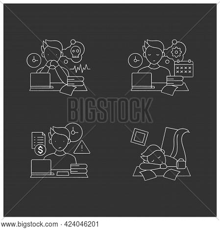 Procrastination Chalk Icons Set. Worrier, Defier Procrastinator, Mess, Late Payments. Overwhelmed Co