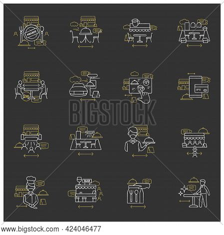 Restaurant New Normal Chalk Icons Set. Regulation Through Covid19.new Rules Concept. Isolated Vector