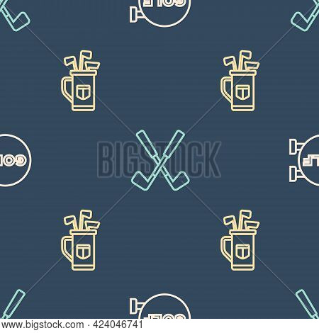 Set Line Golf Sport Club, Bag With Clubs And Crossed Golf On Seamless Pattern. Vector