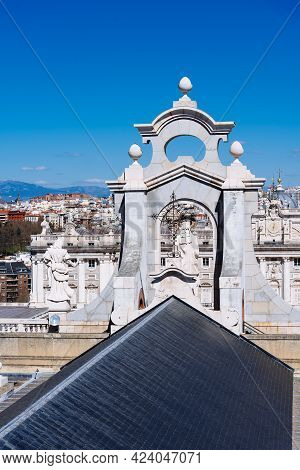 Madrid, Spain - March 20, 2021: Cityscape Of Madrid From The Roof Of Almudena Cathedral. Sunny Day W