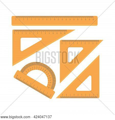 A Set Of School Lines In Orange Color, Different Shapes. Ruler, Protractor, Triangle. Wooden Protrac