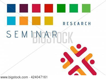 Composition of research seminar text with colourful squares and red design detail, on white. seminar design template concept digitally generated image.