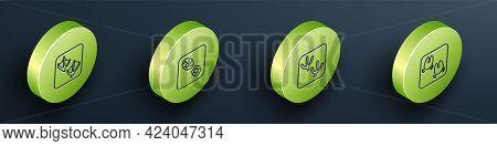 Set Isometric Line Seagull Paw Footprint, Human Footprints Shoes, Dove And Wild Boar Icon. Vector