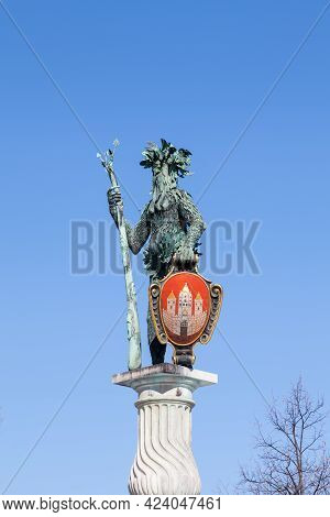 Salzburg, Austria - February 25:  The Wild Man Statue Holding The City Coat Of Arms Is Pictured On M