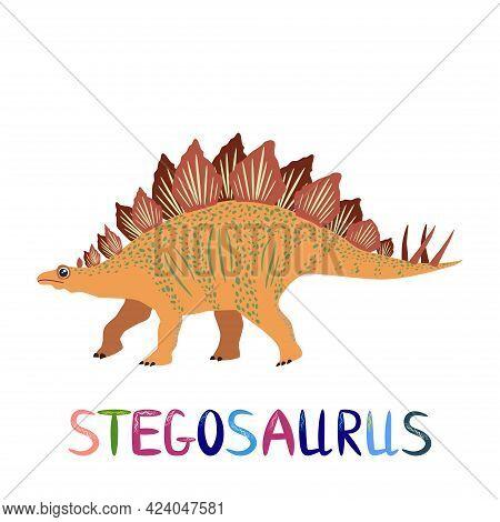 Stegosaurus Yellow, Prehistoric Dinosaurs Collection. Ancient Animals. Hand Drawn.