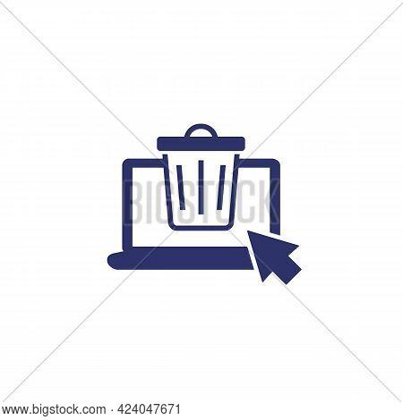 Trash Bin, Deleted Files Icon On White