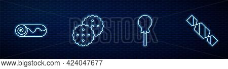 Set Line Lollipop, Chocolate Roll Cake, Cookie Or Biscuit And Candy. Glowing Neon Icon On Brick Wall