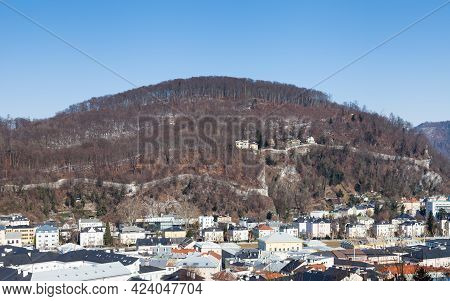 Salzburg Skyline.  A Winter View Across The Salzburg Skyline In Austria.  In The Background Can Be S
