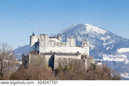 Hohensalzburg Fortress In Salzburg, Austria Is Pictured In Mid Winter. The Medieval Fortress Dates B
