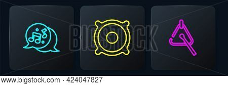 Set Line Music Note, Tone, Triangle And Stereo Speaker. Black Square Button. Vector