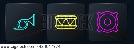 Set Line Trumpet, Stereo Speaker And Drum. Black Square Button. Vector