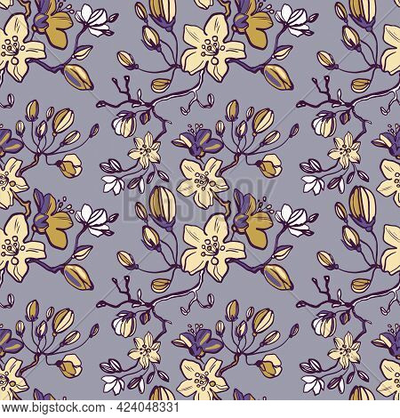 Small Floral Pattern In The Many Kind Of Flowers. Tropical Botanical Seamless Vector Texture. Printi