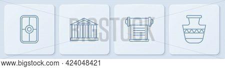 Set Line Greek Shield, Decree, Parchment, Scroll, Parthenon And Ancient Amphorae. White Square Butto