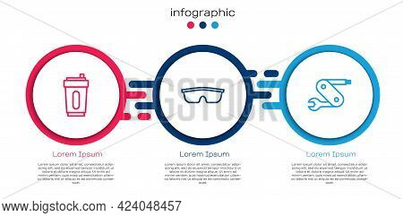 Set Line Sport Bottle With Water, Cycling Sunglasses And Swiss Army Knife. Business Infographic Temp