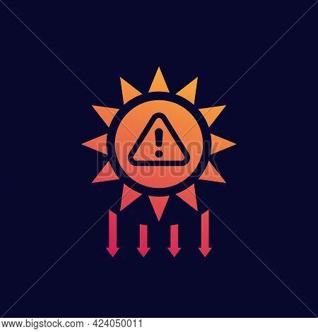Uv Radiation Warning Solar Ultraviolet Vector Icon