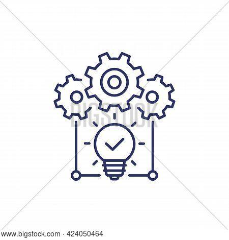 Idea Execution Line Icon On White, Vector