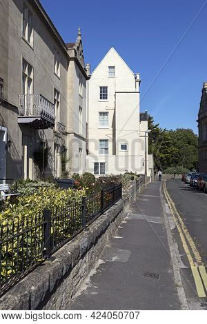 Weston-super-mare, Uk - June 15, 2021: Victorian Houses In South Terrace
