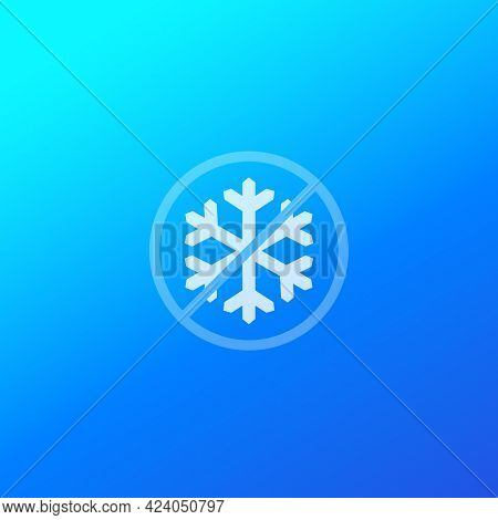 No Frost Icon With Snowflake, Vector Sign
