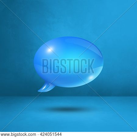 3d Blue Speech Bubble Isolated On Cyan Square Background