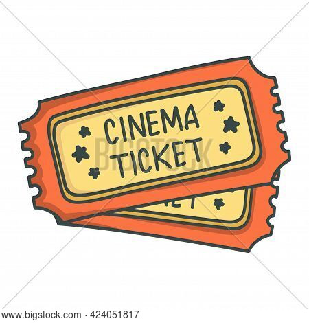Two Cinema Tickets Isolated On White Background. Flat Hand Drawn Cinema Ticket. Sketch Icon Movie En